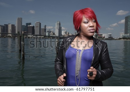 African American female in fashionable clothing - stock photo