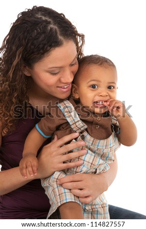 African American Happy Smiling Mother and Baby Boy Isolated on White Background - stock photo