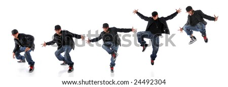 African American hip hop dancer in dance jump progression - EXTRA LARGE SIZE - stock photo