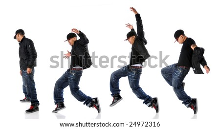 African American hip hop dancer in dance sequence - stock photo