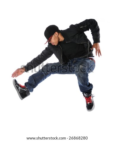 African American hip hop dancer jumping isolated over white - stock photo