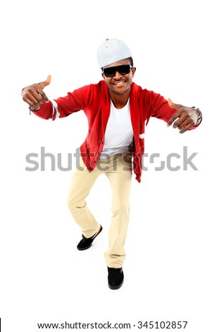 African American hip hop dancer over white background - stock photo