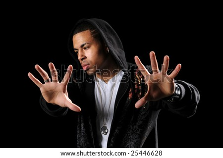 African American hip hop dancer with hands in foreground - stock photo