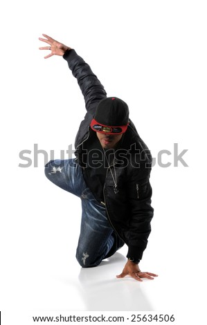 African American hip hop dancing performing over a white background - stock photo