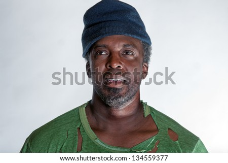 African American homeless man - stock photo