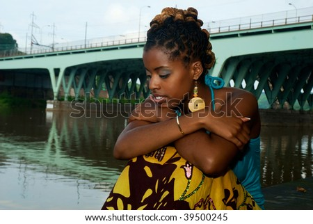 African American in deep thought - stock photo