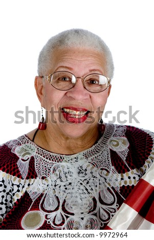 african american lady with american flag - stock photo