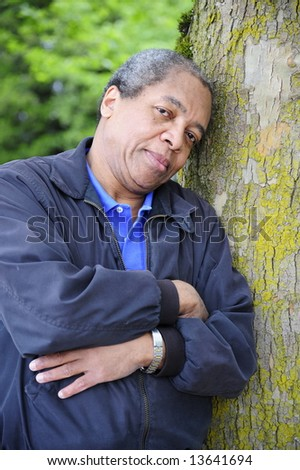 African american male in the woods. - stock photo