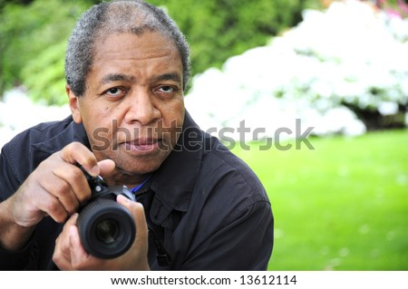 African american male photographer. - stock photo