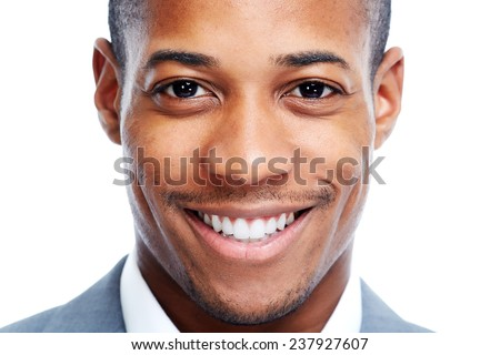 African American man close-up isolated white background. - stock photo