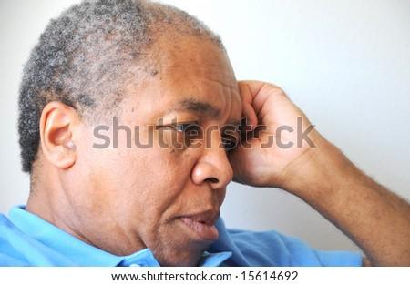 African american man feeling sad and depressed. - stock photo