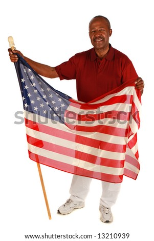 African American Man holding American Flag with pride on pure white background - stock photo