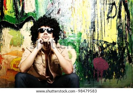 African American man wearing sunglasses - stock photo
