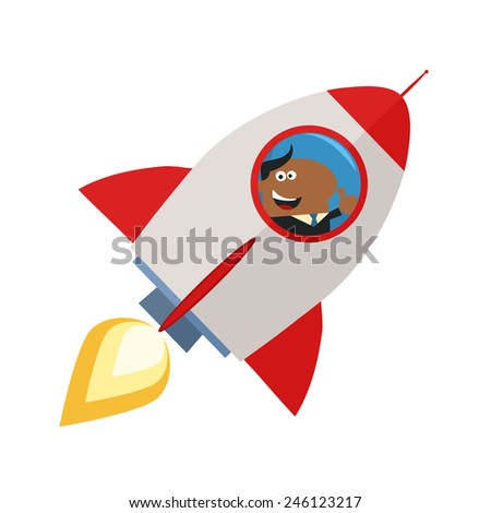 African American Manager Launching A Rocket And Giving Thumb Up.Flat Style Raster Illustration Isolated On White - stock photo