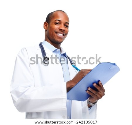 African-American Medical doctor writing prescription. - stock photo