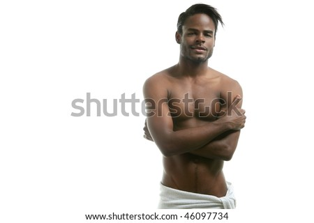 African american nude torso black sexy man at studio - stock photo