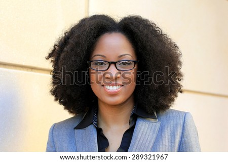African American One Professional Business Person Black Hair Africa Smiling and Happy Wearing Glasses Woman - stock photo