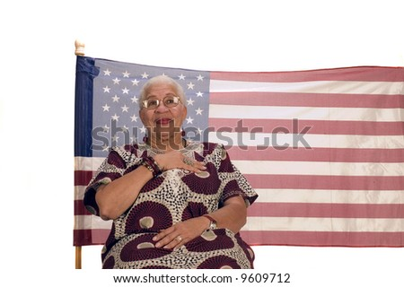 African American patriot with flag isolated over white - stock photo