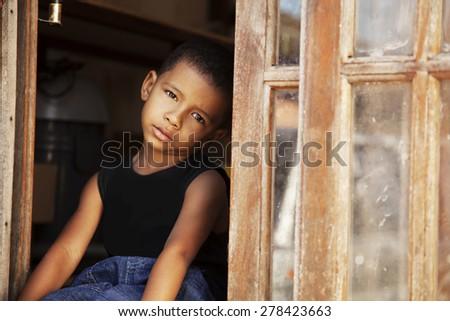 African american sad little boy - stock photo