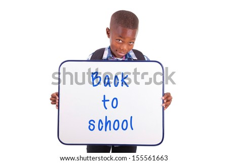 African American school boy holding a blank board, isolated on white background - Black people - stock photo