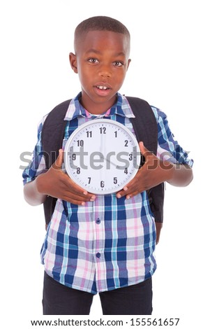African American school boy  holding a clock, isolated on white background - Black people - stock photo