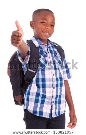 African American school boy making thumbs up, isolated on white background - Black people - stock photo