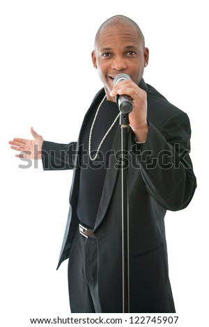 African American singer standing on a white background - stock photo