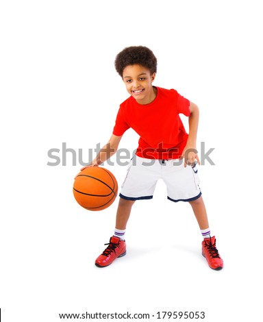 African American teenager smiling, playing basketball, full body portrait. Isolated, over white background, with copy space - stock photo