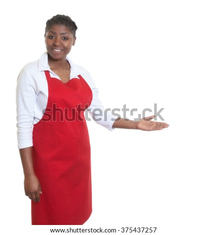 African american waitress inviting guests - stock photo