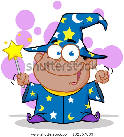 African American Wizard Boy Waving With Magic Wand. Raster Illustration.Vector Version Also Available In Portfolio. - stock photo