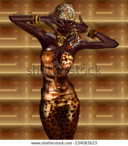 African American Woman Digital Model in Leopard Print Fashion with Beautiful Cosmetics and Head Scarf. Modern Vogue Pose. A gold abstract background with glowing lights enhances this fashion scene. - stock photo
