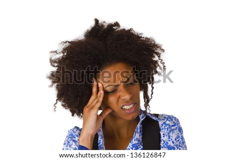 African american woman feels sick - isolated on white background - stock photo