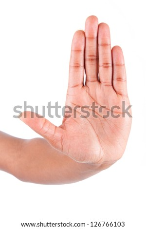 African American woman hand making stop sign, isolated on white background - stock photo