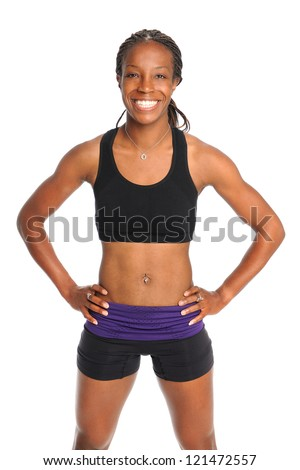 African American woman in exercise clothing isolated over white background - stock photo