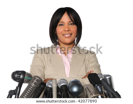 African American woman in front of microphones isolated over white - stock photo