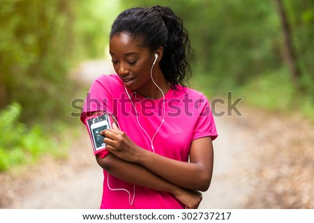 African american woman jogger portrait  - Fitness, people and healthy lifestyle - stock photo