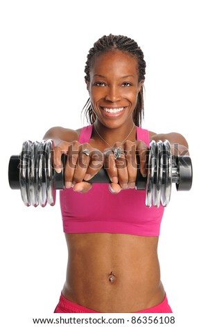 African American woman lifting dumbbell isolated over white background - stock photo