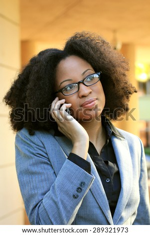 African American Woman One Professional Business Person Black Hair On the Phone Africa  - stock photo