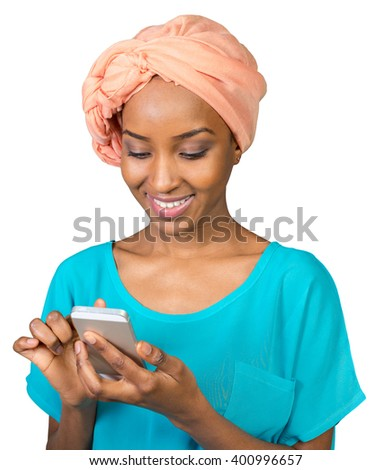 African American Woman with a mobile phone - stock photo