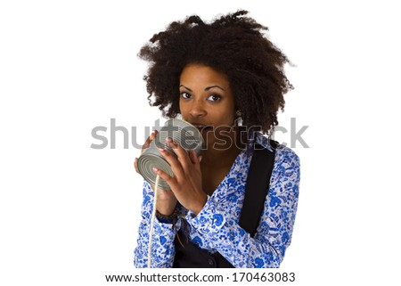 African american woman with can phone - isolated on white background - stock photo