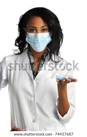 African American woman with mask holding petri dish isolated over white background - stock photo