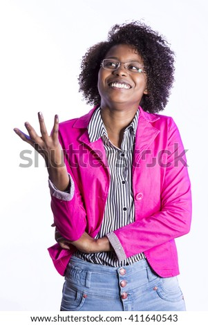 african business girl with glasses - stock photo