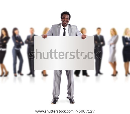 African business man and group holding a banner ad, full length portrait isolated on white background. - stock photo