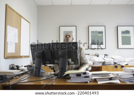 African businessman at his desk - stock photo
