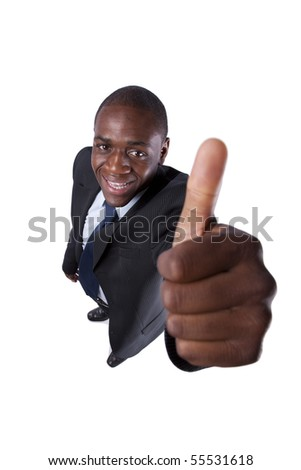 African businessman gesturing OK  (isolated on white) - stock photo