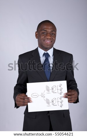 african businessman holding a firewall diagram solution - stock photo