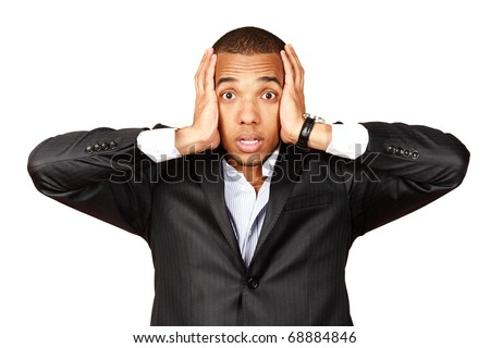 African businessman screaming with fear and a strange face expression (isolated on white) - stock photo