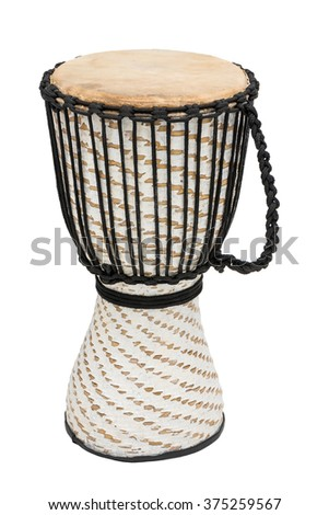 African Djembe Drum Isolated Over White Background - stock photo