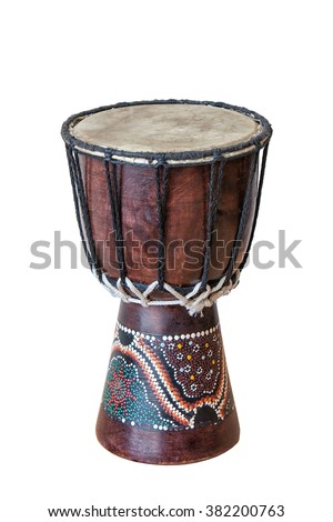 African drum isolated on white background - stock photo