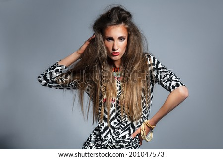 african fashion style, woman - stock photo